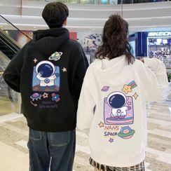Opis - Couple Matching Astronaut Print Hooded Sweatshirt