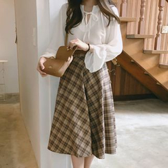 Leoom - Peasant Blouse / Plaid A-Line Skirt / Knit Vest