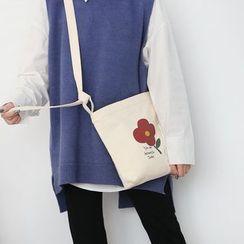 Yeyu Studio - Flower Print Canvas Crossbody Bag