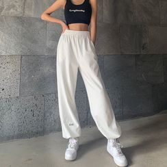 Genrovia - High-Waist Drawcord-Hem Sweatpants