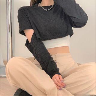 Zepto - Long-Sleeve T-Shirt / Strappy Top / Wide-Leg Pants / Set
