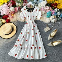 Yearnin - Fruit Embroidered Puff-Sleeve Dress (Various Design)