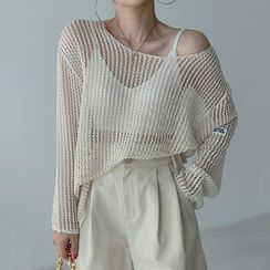 Coris - Round-Neck Pointelle-Knit Cover-Up