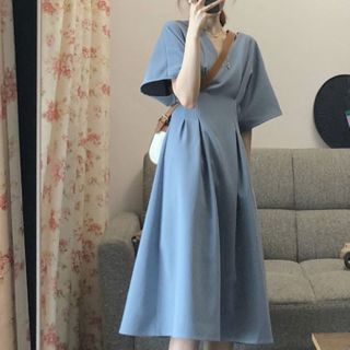 Beauteau - 中袖純色A字連衣中裙