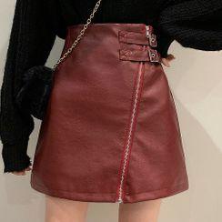 Rhames - 皮面斜拉链高腰A字半身短裙