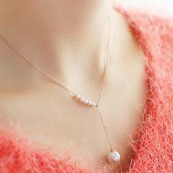 Ignar - Faux Pearl Pendant Y Necklace