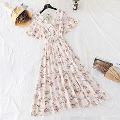 NINETTE - Floral Print Short-Sleeve Midi A-Line Chiffon Dress