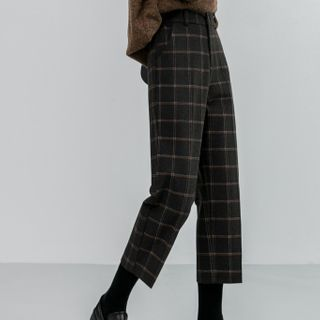 Sancus(サンクス) - Straight-Leg Plaid Wool Pants