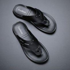 Kayne H - Faux Leather Flip Flops