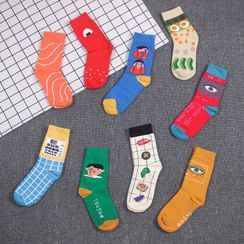Pouffle - Set Of 3: Cartoon Jacquard Socks