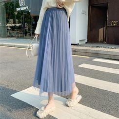 Donnae - Velvet Overlay Midi Skirt