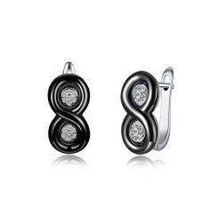 BELEC - 925純銀時尚數字8黑色陶瓷耳釘配奧地利水晶