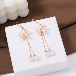 Jasminte - Flower Beaded Drop Earrings