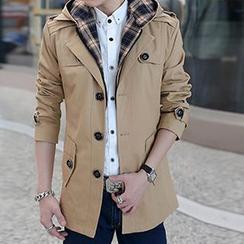 Besto - Detachable Hood Trench Jacket