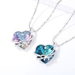 Muscovite - Swarovski Element Crystal Rhinestone Heart Necklace