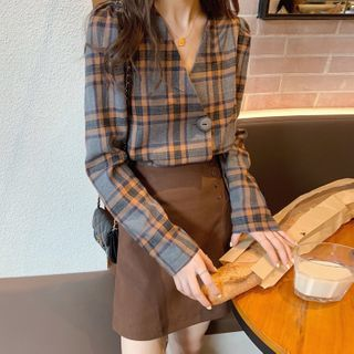Yukkako - Long-Sleeve Plaid Top / Mini A-Line Skirt