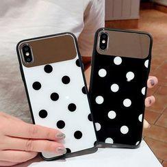 Cellfie - Polka Dot Mirrored Mobile Case - iPhone XS Max / XS / XR / X / 8 / 8 Plus / 7 / 7 Plus / 6s / 6s Plus