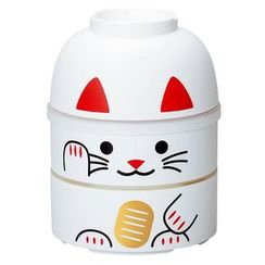 Hakoya - Hakoya Big Kokeshi 2 Layers Lunch Box Lucky Cat White