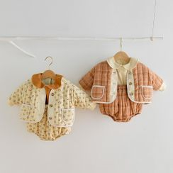 Cen2ury - Baby Set: Padded Floral Print Jacket + Sleeveless Bodysuit