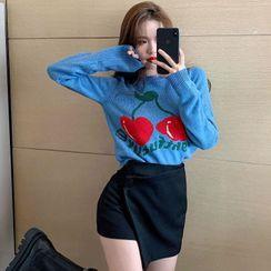 MAVIS - Cherry Print Sweater / Mini A-Line Skort