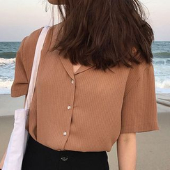 CaraMelody - Striped Short-Sleeve Blouse