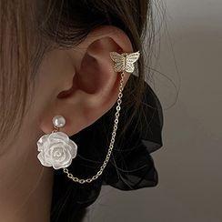 Bmuse - 花朵耳墜連耳掛 / 夾式耳環