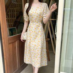 MyFiona - Square-Neck Floral Long Chiffon Dress
