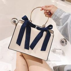 Shinian - Faux Leather Bow Hand Bag