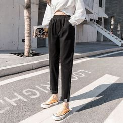 Gray House - High-Waist Cropped Tapered Pants
