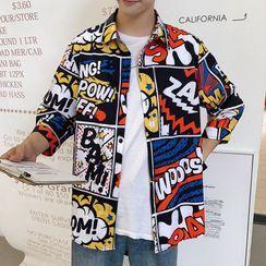 DuckleBeam - Lettering Print Shirt Jacket