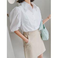 J-ANN - Puff-Sleeve Cotton Shirt