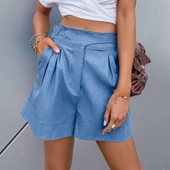 Simplee - High Waist Buckle Accent Shorts