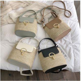 OLGALOG - Straw  Bucket Bag