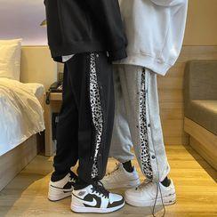 EOW - 豹纹印花抽绳运动裤