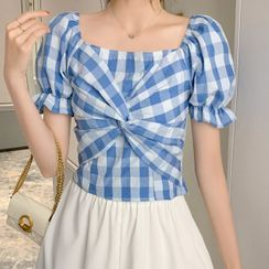 Gray House - Gingham Puff-Sleeve Twist Cropped Blouse