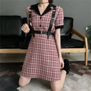 Whoosh - 短袖格子連衣裙 / 腰包 / 身體繫帶腰帶