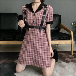Whoosh - Short-Sleeve Plaid Dress / Belt Bag / Harness