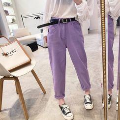 Kojasmine - 高腰直筒牛仔裤