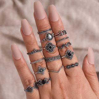 Yella - Set of 15: Retro Faux Crystal / Rhinestone / Alloy Ring (assorted designs)