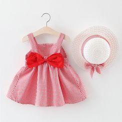 Mini Bae - 兒童套裝: 無袖格子蝴蝶結連衣裙 + 太陽帽