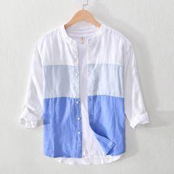 Menelaus - 七分袖拼色衬衫