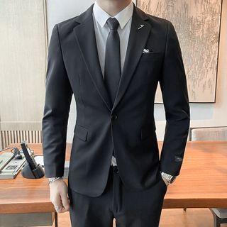 Bay Go Mall(ベイゴーモール) - Set: One-Button Blazer + Dress Pants