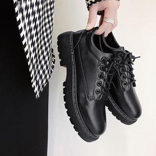 Tanzanite - Plain Faux Leather Platform Lace-Up Shoes