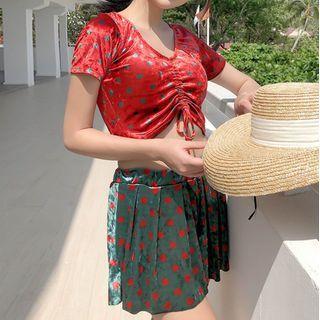 Nerthus - 套裝: 圓點抽繩比基尼 + 外襯短裙