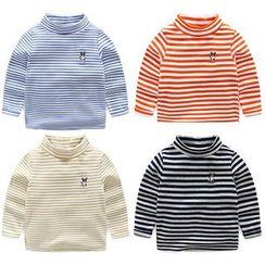 Seashells Kids - Kids Long-Sleeve Mock Neck Dog Embroidered Striped T-Shirt