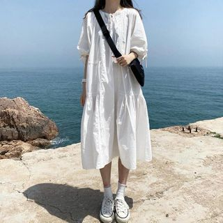 Astarte - Lace Trim Drawstring Short-Sleeve Midi Shift Dress