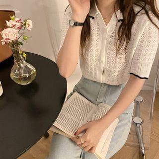 Hevnir - Short Sleeve Knit Polo Shirt
