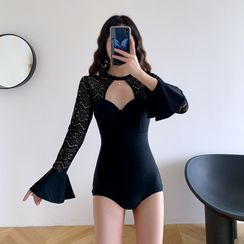 Aluli - Lace Panel Bell-Sleeve Cut-Out Swimsuit