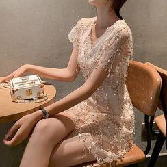 Bornite - Sequined Sleeveless Midi A-Line Dress / Short-Sleeve Playsuit