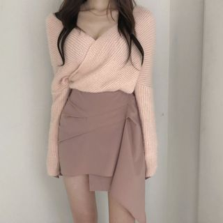Windcatcher - Long-Sleeve Ribbed Knit Sweater / Asymmetric Plain Skirt